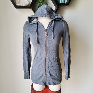 🎉Old navy zip up tunic hooded jacket XS gray